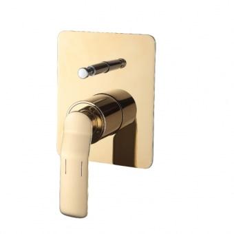 """אונטרפוץ 4 דרך עיצוב נקי ומודרני, גימור זהב מבריק.  עשוי מפליז- סגסות מתכתית המורכבת מנחות ואבץ, ציפוי החומר בצבע באיכות גבוהה מאד.  מידות: 120*150 מ""""מ  אחריות 5 שנים"""