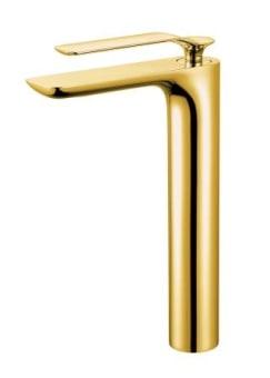 """ברז אמבט , עיצוב נקי ומודרני, גימור זהב מבריק.  ברז איכותי עשוי מפליז- סגסות מתכתית המורכבת מנחושת ואבץ, ציפוי החומר בצבע באיכות גבוהה מאד.  גובה הברז: 139 מ""""מ  אורך פיה: 108 מ""""מ  גובה פיה ממשטח: 98 מ""""מ  אחריות 5 שנים"""