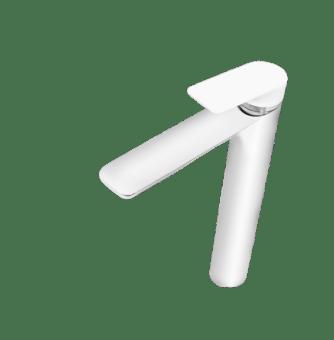 """ברז אמבט מסדרת אינפיניטי, בעיצוב מיוחד,  בשילוב ידית קוריאן לבנה,  אורך פיה 120 מ""""מ  גובה הברז 172 מ""""מ  גובה פיה ממשטח 125 מ""""מ ,  גימור הברז כרום,  5 שנות אחריות ."""