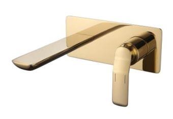 """ברז אמבט מקיר גימור זהב מבריק, עיצוב נקי ומודרני,  ברז איכותי עשוי מליז- סגסות מתכתית המורכבת מנחות ואבץ, ציפוי החומר בצבע באיכות גבוהה מאד.  רוחב הסוללה: 215 מ""""מ  אורך פיה: 208 מ""""מ  אחריות 5 שנים"""