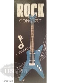 """מידות:  35/90 ס""""מ  תמונת תלת מימד מתכת גיטרה כחולה לחדר ילדים ונוער. בלעדי להאוס אין. תמונות נוספות של  גיטרה אדומה  ,  תופים  או  מיקרופון  קוד המוצר: AYM081D"""