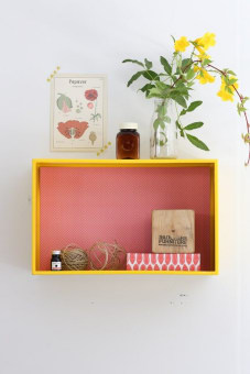 Our chic box shelf is useful and practical for the playroom, home office or craft area, entrance, kitchen or any other room. you can store items inside or on top of the box shelf.This Yellow metal shelf is being oven painted.   It's background is magnetic and it's replaceable, you can choose the design you like. Please look at the last photo and choose the number of the magnetic background you like. You have 12 options.    When you place the order write the number of the magnetic background you chose as a comment.       Hang horizontally or vertically, wall plugs and screws supplied.Dimensions: 40X25 cm, depth – 14 cm | 16X10 inches, depth – 5.5 inches
