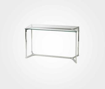 """קונסולה בעיצוב מודרני בשילוב זכוכית מחוסמת ומסגרת נירוסטה.  מידות:  אורך: 120 ס""""מ  רוחב: 40 ס""""מ  גובה: 80 ס""""מ"""