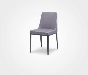 """כסא אוכל בריפוד בד אפור כהה + קדר.  מידות:  רוחב: 53 ס""""מ  עומק: 45  גובה: 81 ס""""מ"""
