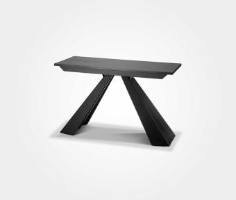 """שולחן אוכל נפתח בצבע שלייפלק שחור, בשילוב רגל מתכת.  מידות:  מצב סגור /אורך: 120 ס""""מ / רוחב: 50 ס""""מ / גובה: 76 ס""""מ  הארכה: 4*44 ס""""מ  במצב פתוח / אורך: 120 ס""""מ / רוחב: 228 ס""""מ / גובה: 76 ס""""מ"""