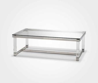 """שולחן עשוי זכוכית מחוסמת בשילוב רגל אקריל.  מסגרת נירוסטה.  מידות:  אורך: 120 ס""""מ  רוחב: 70 ס""""מ  גובה: 39 ס""""מ"""