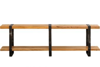 """שידת כניסה ארוכה בשילוב מקסים של עץ וברזל    שידת כניסה ארוכה עם מדפים גדולים. את השידה ניתן לייצר בכל מידה לפי בחירתכם בטווח שבין 180-240 ס""""מ. מתאימה בתור שידת קונסולה לכניסות ארוכות במיוחד בבתים או בתור שידה מאחורי ספה בסלון כמו בתמונה הנוספת, לאורך קירות בתוך או מחוץ לבית. מומלץ לעדכן במידה המדוייקת הרצויה, זמן האספקה עד 14 ימי עבודה. כמובן אחריות מלאה ושרות משלוחים ארצי."""