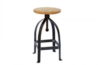 """כסא בר ברזל טבעי – תוספת מקסימה בסגנון תעשייתי מקורי ומושב מתכוונן לפי הצורך    כסא בר ברזל טבעי עם מושב מתכוונן בצורת הברגה. הכסא מעוצב בסגנון תעשייתי מחוספס ומיוצר מברזל יצוק בצבע שחור ומושב עץ עגול בגוונים מרהיבים ומתכוונן עד לגובה 85 ס""""מ. רהיט מושלם לעיצוב הדלפק או הבר במטבח, מומלץ לבקש בחנות גם תחתיות רכות לרגליים.  עכשיו באולם תצוגה ומשלוחים לכל הארץ."""
