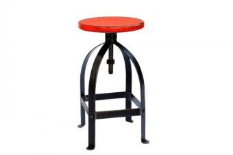 """כסא בר ברזל כתום בסגנון כפרי תעשייתי    כסא בר ברזל כתום המיוצר מברזל יצוק בסגנון תעשייתי ומושב עץ מלא עגול בגוון בוהק וצבעוני המתכוונן עד לגובה 85 ס""""מ לנוחות מקסימלית. הכסאות מתאימים לבר או דלפק במטבח ומכילים תחתיות סיליקון למניעת שריטות או רעש בעת התזוזה. להשיג בחנות במגוון צבעים, עכשיו, עם משלוח לכל הארץ."""