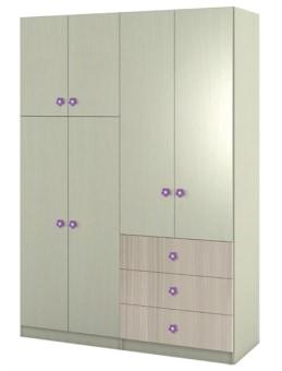 ארון פתיחה על סוקל בשילוב דלתות מחולקות ושלוש מגירות. ניתן להזמין במגוון צבעים נוספים. חומר גלם מלמין יצוק. בתוספת מחיר ניתן לקבל: - שינוי גוף הארון ל-MDF.