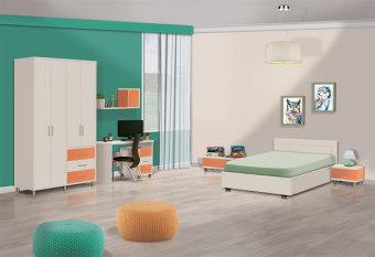 חדר ילדים מעוצב בעל מיטה 120 מעוצבת, שידת לילה, כוורת עם דלת אחת, שידת מגירות, ושידת מגירות עם 4 מגירות, שולחן כתיבה ישר, ארון מעוצב בעל שילובי צבעים מודרניים