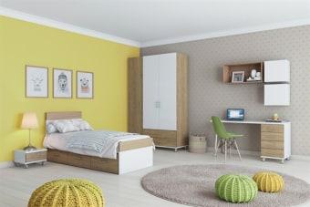 חדר ילדים מודרני הכולל סט כוורות תליה המאפשר התאמה אישית למיקומם במרחב חדר השינה.  *ייתכנו שינויים קלים במבנה המוצר וסטיות קלות בגוון הצבע המופיע בתמונה לבין המציאות.