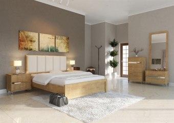 חדר שינה מעוצב הכולל מיטה, שתי שידות לילה וקומפלט יפני. ראש המיטה מרופד והריהוט משולב פורמייקה מתכתית בגוון ניקל. חומר גלם MDF.