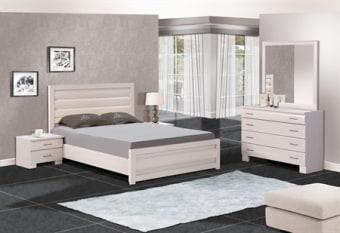 מיטה זוגית קלאסית עם פרופילים מעוגלים בראש וחזית המיטה, קומפלט הכולל קומודה רחבה עם מראה וזוג שידות לילה