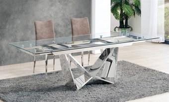 """שולחן אוכל דגם CT2302 פרטים טכניים: מידות: 1.6X0.9X0.75 מ` הגדלות: 60 ס""""מ חומרים: זכוכית שקופה מחוסמת, בסיס נירוסטה 201 בגימור מראה"""