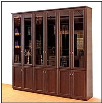 """ספריית קודש מעץ סנדביץ   :   גובה: 240 ס""""מ   רוחב: 230 ס""""מ   עומק: 43 ס""""מ"""