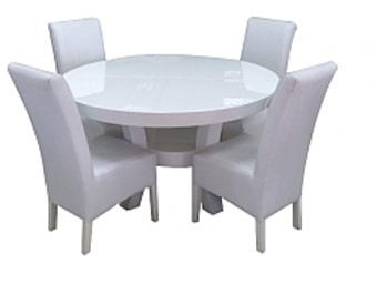 """שולחן פינת אוכל + 4 כיסאות   פינת אוכל אפוקסי נפתח - דגם זוהר   פינת האוכל של מדגם סתיו משלבת יופי טבעי עם פרקטיות   אשר הופכת את השימוש היום יומי למהנה ויעיל גם יחד.   פינת אוכל בגימור אפוקסי מבריק 100% פוליאסטר המגן על הרהיט למשך שנים רבות.   פינת אוכל לבנה עגולה בגימור אפוקסי מט או מבריק וכולל 4 כיסאות.   שולחן אוכל לבן מודרני עם קווים מעוגלים וזוויות ייחודיות ברגליים!!   ניתן להזמין במבחר צבעים לפי בחירה.   מחיר השולחן כולל 4 כיסאות.   שולחן האוכל זמין בשתי מידות:   אופציה ראשונה -   מידות סגור:   אורך: 120 ס""""מ.   רוחב: 120 ס""""מ.   מידות פתוח אפשרות 1 :   אורך: 170 ס""""מ.   מידות פתוח אפשרות 2 :   בתוספת תשלום של 500 ש""""ח בפתיחת פרפר :   אורך:200 ס""""מ.   * מעל קומה 3 בהעמסה ידנית תהיה תוספת של 35 ₪ לקומה.   בכל מקרה של צורך בשרותי מנוף חיצוניים החיוב יחול על הלקוח.   הובלות מחיפה צפונה, מבאר שבע דרומה ומעבר לקו הירוק ייתכן עיכוב באספקה של 14 יום וכמו כן קיימת תוספת מחיר של 149 ₪ להובלה."""