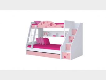 "A1.01.020-212  מיטת קומתיים מעוצבת לחדר ילדים בעלת מבנה ייחודי אשר כולל:  1.""מיטת יחיד"" (90*190) במיטה העליונה     2.""מיטה וחצי"" (120*190) במיטה התחתונה     3.יחידת מידוף הבנויה בתוך המיטה     4.מדרגות טיפוס המהוות מקום אחסון נוסף     5.""מיטת חבר"" נפתחת המהווה פתרון אירוח מושלם."
