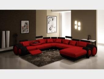 """109D שחור אדום  נוטיק XL הינו סלון פינתי גדול ומרווח במיוחד בצורת """"ח"""" ובעל מראה ייחודי ומודרני עם קווים עגולים המכניסים תחושת זרימה לחדר האירוח .הסלון עשוי מעור איטלקי עבה ואיכותי המעניק לסלון מראה יוקרתי ועשיר.   הסלון מורכב מ4 חלקים שונים :     1 שזלונג שכיבה רחב ומפנק המשמש לשכיבה מול הטלוויזיה      1 דו מושבי רחב עם משענת ראש מתכווננת      1 יחידה פינתית משופעת המאפשרת ניצול של הפינה וישיבה גם במושב הפינתי      1 תלת מושבי רחב ומרווח עם משענת ראש מתכווננת, משענת לרגליים נפתחת(ריקליינר) ומשענת גב ההופכת למשענת יד   מידות:     אורך שזלונג- 170 ס""""מ     אורך צלע ימין- 357 ס""""מ     אורך צלע שמאל- 308 ס""""מ      עומק כולל- 101 ס""""מ      גובה- 78 ס""""מ"""