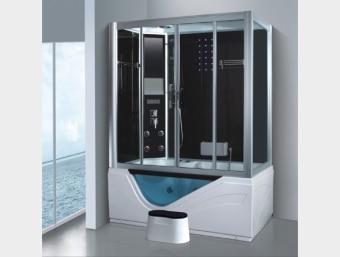 "G0211TV  מקלחון עיסוי גדול במיוחד ומפנק בצורה יוצאת דופן! מקלחון זה בנוי מאמבטיה בחלקו התחתון כך שניתן למלאו מים ולשכב בתוכו שעות. אמבטיה זו משולבת דופן זכוכית המעניק לאמבטיה מראה יוקרתי במיוחד. במקלחון זה מותקנות דלתות הזזה פנימיות לחיסכון במקום בחלל האמבטיה.  הפונקציות במקלחון זה הן:     1. מאוורר לסינון האדים     2. רמקול מובנה בתקרת המקלחון ומבודד מים     3. רדיו מובנה     4. מחולל אדים (סאונה רטובה)     5. מנורה מובנית בתקרה     6. ג'טים בגב למסג'     7. מקלחון ידני נייד     8. טוש מובנה בתקרה     9. בורר מצבים לשליטה בפתחי המים     10. בורר טמפרטורה לשליטה בטמפרטורת המים     11. מידוף לסבונים     12. תאורת לד דקורטיבית     13. מסג' רגליים     14.ג'קוזי   מידות:      אורך- 160 ס""מ      עומק- 90 ס""מ      גובה- 215 ס""מ"