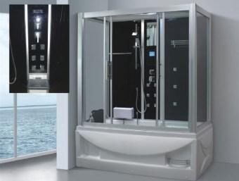 """LG0908  מקלחון עיסוי גדול במיוחד ומפנק בצורה יוצאת דופן! מקלחון זה בנוי מאמבטיה בחלקו התחתון כך שניתן למלאו מים ולשכב בתוכו שעות. במקלחון זה מותקנות דלתות הזזה פנימיות לחיסכון במקום בחלל האמבטיה.  הפונקציות במקלחון זה הן:     1. מאוורר לסינון האדים     2. רמקול מובנה בתקרת המקלחון ומבודד מים     3. רדיו מובנה     4. מחולל אדים (סאונה רטובה)     5. מנורה מובנית בתקרה     6. ג'טים בגב למסג'     7. מקלחון ידני נייד     8. טוש מובנה בתקרה     9. בורר מצבים לשליטה בפתחי המים     10. בורר טמפרטורה לשליטה בטמפרטורת המים     11. מידוף לסבונים     12. תאורת לד דקורטיבית     13. מסג' רגליים     14.ג'קוזי   מידות:      אורך- 140 ס""""מ *      עומק- 90 ס""""מ      גובה- 215 ס""""מ   *ניתן לרכוש מקלחון זה בגדלים נוספים ובתוספת תשלום:      1. אורך- 150 ס""""מ , רוחב- 90 ס""""מ, גובה- 215 ס""""מ בתוספת 500 ש""""ח      2. אורך- 170 ס""""מ , רוחב- 90 ס""""מ, גובה- 215 ס""""מ בתוספת 1200 ש""""ח"""