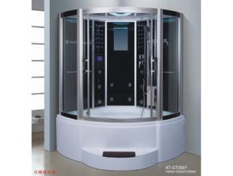 "GT907  מקלחון עיסוי פינתי גדול במיוחד ומפנק בצורה יוצאת דופן! מקלחון זה בנוי מאמבטיה בחלקו התחתון כך שניתן למלאו מים ולשכב בתוכו שעות. במקלחון זה מותקנות דלתות הזזה פנימיות לחיסכון במקום בחלל האמבטיה.  הפונקציות במקלחון זה הן:     1. מאוורר לסינון האדים     2. רמקול מובנה בתקרת המקלחון ומבודד מים     3. רדיו מובנה     4. מחולל אדים (סאונה רטובה)     5. מנורה מובנית בתקרה     6. ג'טים בגב למסג'     7. מקלחון ידני נייד     8. טוש מובנה בתקרה     9. בורר מצבים לשליטה בפתחי המים     10. בורר טמפרטורה לשליטה בטמפרטורת המים     11. מידוף לסבונים     12. תאורת לד דקורטיבית     13. מסג' רגליים     14.ג'קוזי   מידות:      אורך- 150 ס""מ      עומק- 150 ס""מ      גובה- 215 ס""מ"