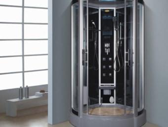"D0206  מקלחון עיסוי פינתי מפנק בצורה יוצאת דופן! מקלחון זה בנוי מאגנית בחלקו התחתון ומותקנות בו דלתות הזזה פנימיות לחיסכון במקום בחלל האמבטיה.  הפונקציות במקלחון זה הן:     1. מאוורר לסינון האדים     2. רמקול מובנה בתקרת המקלחון ומבודד מים     3. רדיו מובנה     4. מחולל אדים (סאונה רטובה)     5. מנורה מובנית בתקרה     6. ג'טים בגב למסג'     7. מקלחון ידני נייד     8. טוש מובנה בתקרה     9. בורר מצבים לשליטה בפתחי המים     10. בורר טמפרטורה לשליטה בטמפרטורת המים     11. מידוף לסבונים     12. תאורת לד דקורטיבית      13.כיסא לישיבה     14.מסג' לרגליים   מידות:      אורך- 110 ס""מ      עומק- 110 ס""מ      גובה- 215 ס""מ"
