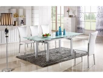 """815 לבן  שולחן פינת אוכל מעוצב עם זכוכית לבנה המעניקה לשולחן מראה מודרני נקי וייחודי כאשר שילוב רגלי השולחן הכסופות השולחן מקבל מראה יוקרתי. השולחן עשוי מזכוכית עבה ומחוסמת TEMPERD GLASS.   מידות:      מצב סגור-      אורך- 140 ס""""מ      רוחב- 90 ס""""מ   מצב פתוח-      אורך- 200/ 170 ס""""מ      רוחב- 90 ס""""מ"""