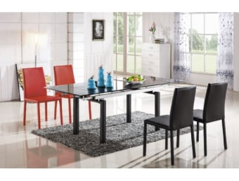 """815 שחור  שולחן לפינת אוכל מעוצב עם זכוכית שחורה המעניקה לשולחן מראה מודרני נקי וייחודי כאשר שילוב רגלי השולחן המעוגלות השולחן מקבל מראה יוקרתי. השולחן עשוי מזכוכית עבה ומחוסמת TEMPERD GLASS.   מידות:      מצב סגור-      אורך- 140 ס""""מ      רוחב- 90 ס""""מ   מצב פתוח-      אורך- 200/ 170 ס""""מ      רוחב- 90 ס""""מ"""