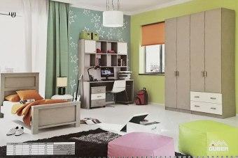 """חדר שינה קומפלט דגם: """"שי""""  חדר ילדים מדליק ומעוצב  חומרים וגימורים בסטנדרטים גבוהים  ניתן להזמין במבחר צבעים ושילובים של הצבעים.  ניתן להזמין חלקים בנפרד  החדר שינה קומפלט כולל:  * מיטה למזרן 80/190 מידות: 91/208 גובה 103 מחיר: 1350 ש""""ח.  * שולחן כתיבה + כוננית מחיר: 1800 ש""""ח  מידות לשולחן: אורך 160 גובה 75 עומק 60 מחיר לשולחן בנפרד: 1060 ש""""ח. מידות לכוננית: אורך 121 גובה 120 עומק 30  * שידה 3 מגירות מידות: אורך:49 גובה 64 עומק 40 מחיר : 830 ש""""ח.  * ארון 4 דלתות + 2 מגירות. מידות: רוחב 163 עומק 53 גובה 240 מחיר 2,145 ש""""ח.  ** מחיר ההובלה כולל הרכבה לחדר שינה קומפלט."""