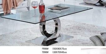 """שולחן סלון דגם: """"T-996""""  שולחן עשוי זכוכית מחוסמת משולבת נירוסטה.  זכוכית עובי 12 מ''מ  שולחן מעניק מראה מודרני ויוקרתי.  מידות:  130X70  מחיר משלוח כולל הרכבה."""