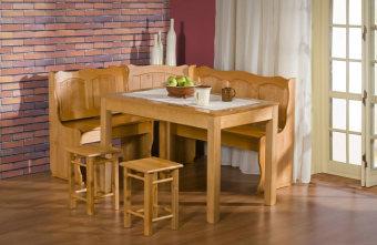 """פינת מטבח MAXI I  פינת ישיבה למטבח  הפינה עשויה עץ מלא (אלמון), המושבים הינם מעץ מלא כפי שמוצג בתמונה.  צבעו אגוז בהיר כפי שמופיע בתמונה.  הפינה כוללת פינת ישיבה, שולחן ושני טבורטים.  מידות פנית הישיבה:  רוחב:160 סמ'  אורך: 125 סמ'  מידות השלוחן:  רוחב: 120 סמ'  אורך: 70 סמ'   דמי המשלוח בסך: 300 ש""""ח כוללים הובלה והרכבה"""