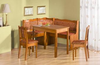 """פינת מטבח MINI III  פינת ישיבה למטבח  הפינה עשויה עץ מלא (אלמון), המושבים הינם בעלי ריפוד כפי שמוצג בתמונה.  צבעו אגוז בהיר כפי שמופיע בתמונה.  הפינה כוללת פינת ישיבה, שולחן ושני כסאות תואמים.  מידות פנית הישיבה:  רוחב:147 סמ'  אורך: 107 סמ'  מידות השלוחן:  רוחב: 100 סמ'  אורך: 60 סמ'   דמי המשלוח בסך: 300 ש""""ח כוללים הובלה והרכבה"""