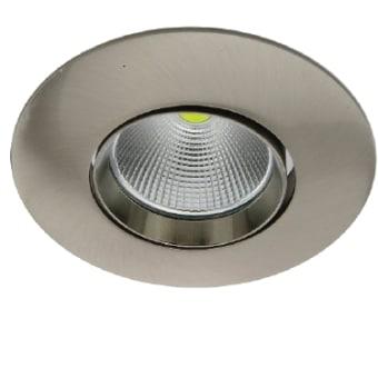"""גוף תאורה ספוט שקוע מתכוונן לנורת LED המתאים להתקנה בקופסת ביטון """"3.  מקור אור: COB LED 6W.  גוון אור: לבן חם 3000K.  לבן קר 6000K.  אלומות: 36 מעלות.  גוף: יציקת אלומיניום.  עדשה: זכוכית מחוסמת שקופה.  רפלקטור: אלומיניום.  התקנה: שקועה בתקרה, להתקנה בקופסת ביטון """"3 נדרש מתאם קפיץ מק""""ט 19999.  ציוד: דרייבר (כלול).  גימור: לבן מט.  ניקל מט."""