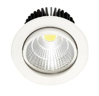 גוף תאורה ספוט שקוע מתכוונן לנורות LED.  מקור אור: COB LED 12W 230V.  גוון אור: לבן חם 3000K.  לבן קר 6000K.  אלומה: 30 מעלות.  גוף: אלומיניום.  עדשה: זכוכית שקופה.  רפלקטור: אלומיניום.  התקנה: שקועה.  ציוד: דרייבר 10W (כלול).  גימור: לבן מט.