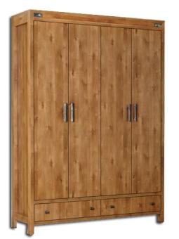 """ארון בגדים 4 דלתות דגם 2108 ארון בגדים הכל עשוי מ- M.D.F מלא ועבה (Multi Density Fireboard) בעל גימורים איכותיים, הנשמר לאורך שנים. החומרים הינם בעלי תו תקן ישראלי. M.D.F הינו חומר איכותי ומסיבי במיוחד, הוא עמיד בפני כוחות כפיפה ואינו מתעגל. מהסיבות הללו ה- M.D.F מתאים וטוב יותר לייצור רהיטים מאשר רוב סוגי העץ הרגיל, וכמה מסוגי העץ המלא שלהם יש נטייה להתעגל, לחרוק, לשנות צורה בשינויי קור וחום וכד'. עמידות בפירוק והרכבה, בייצור מוצר זה משתמשים בפרזולים האיכותיים ביותר, איכות הפרזולים תורמת לכך שכל הרהיטים המיוצרים במפעל עמידים לפירוק והרכבה, כך שניתן לפרקם ולהרכיבם פעמים רבות וככל הצורך (עקרונית, אינסוף פעמים!) לא עוד דלתות נופלות! לא עוד רהיטים מתפרקים במעבר דירה או בהעברתם מחדר לחדר! הארון מוגבה מהרצפה באמצעות רגלים חזקות ליציבות מירבית, כך שניתן לנקות בקלות. ידיות מעוצבות ואיכותיות עמידות לשנים רבות. התכנון הפנימי של הארון נעשה בתאום עם הלקוח בהתאם למספר המדפים ומוטות התליה המסופקים עם הארון, כך שבעצם אתם מעצבים בעצמכם את ארונכם. מידות : גובה- 235 ס""""מ רוחב- 165 ס""""מ עומק- 56 ס""""מ המחיר נכון לארון 4 דלתות, ניתן להזמין כמות גדולה יותר של דלתות בתוספת מחיר. ניתן לשלם ב-12 תשלומים ללא ריבית בכרטיס אשראי. הארון מגיע עם מדפים +מוט תלייה לקולבים ראה איור, ניתן להזמין מדפים נוספים בתוספת תשלום. סידור פנימי של הארון: ניתן להזמין בגוונים: אגוז, אגס חום, דובדבן, מולבן, ונגה ושיטה. לוח צבעי עץ"""