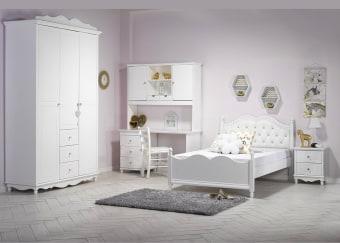 """חדר ילדים דגם שירה הכולל: מיטה ברוחב וחצי + שולחן כתיבה + כוורת + ארון חדר ילדים קומפלט מעוצב בסגנון מודרני וברמת גימור גבוהה בצבע לבן אטום. החדר כולל: מיטה ברוחב וחצי מעוצבת עם ראש מיטה מפואר בתפירת קפיטונאז', מעץ אורן מלא בשילוב M.D.F מתאימה למזרן בגודל 120X190. שולחן כתיבה עם יחידת 3 מגירות אחסון, משטח עבודה גדול ומרווח, פלטת השולחן עבה וחזקה במיוחד + יחידת מדפים . ארון בגדים 3 דלתות: ארון בגדים מהודר עם חריטת פסים מיוחדת בעיצוב מודרני עשוי M.D.F. מלא ועבה, בצבע לבן אטום בעל גימורים איכותיים, עמיד בפני שריטות, ניתן לניקוי בקלות, ונשמר לאורך שנים עם ידיות קריסטל, עם 3 מגירות אחסון. הרהיטים עשויים מעץ אורן פיני מלא שעבר תהליך מבוקר של יבוש ועיבוד בשילוב M.D.F. בעל גימורים איכותיים, עמיד בפני שריטות, ניתן לניקוי בקלות, ונשמר לאורך שנים. החומרים הינם בעלי תו תקן ישראלי. עמידות בפירוק והרכבה, בייצור מוצר זה משתמשים בפרזולים האיכותיים ביותר, איכות הפרזולים תורמת לכך שכל הרהיטים המיוצרים במפעל עמידים לפירוק והרכבה, כך שניתן לפרקם ולהרכיבם פעמים רבות וככל הצורך (עקרונית, אינסוף פעמים!) לא עוד רהיטים מתפרקים במעבר דירה או בהעברתם מחדר לחדר! המחיר נכון לחדר ילדים הכולל: מיטת ברוחב וחצי + שולחן כתיבה + יחידת מדפים + ארון 3 דלתות ללא מזרן ושידה. מחיר חדר הילדים אינו כולל אביזרים לקישוט. מידות: מיטה ברוחב וחצי: מתאימה למזרן במידות 120X190 ס""""מ. שולחן כתיבה: 140X60 ס""""מ. ארון 3 דלתות: 160X240X60 ס""""מ. ניתן לשלם ב-12 תשלומים ללא ריבית בכרטיס אשראי. דמי ההובלה ישולמו ישירות למתקין באספקה."""