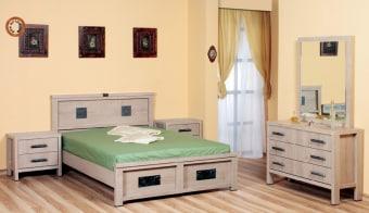 """חדר שינה קומפלט דגם 1080 חדר שינה זוגי בעיצוב קלאסי. חדר שינה קומפלט הכל עשוי מ- m.d.f מלא ועבה בעל גימורים איכותיים. החומרים הינם בעלי תו תקן ישראלי. חדר שינה הכולל: מיטה + 2 שידות לילה + קומודה + מראה בעיצוב מיוחד, ללא מזרנים. מידות בס""""מ: מיטה - גובה: 100, רוחב: 149, אורך: 205. שידה - גובה: 54, רוחב: 57, אורך: 40. קומודה - גובה: 76, רוחב: 107, אורך: 40. מראה - גובה: 80, רוחב: 100. המידה למזרן 190\140 (ניתן לקבל במידות שונות). צבעים: אגוז, ונגה, דובדבן, שיטה, מולבן ואגס חום. אחריות למשך 12 חודשים. המחיר נכון ל - 12 תשלומים ללא ריבית בכרטיס אשראי."""