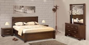 """חדר שינה קומפלט דגם R 23 עשוי מעץ מלא חדר השינה מאסיבי וחזק במיוחד, מעץ מלא שעבר תהליך מבוקר של יבוש ועיבוד בשילוב סנדוויץ', בעל גימורים מעולים ופרזולים איכותיים. משטח השינה עשוי קורות עץ מלא. החומרים הינם בעלי תו תקן ישראלי. חדר שינה הכולל: מיטה + 2 שידות לילה + טואלט + מראה בעיצוב מיוחד, ללא מזרון. מידות חיצוניות בס""""מ: מיטה מתאימה למזרן 190\160. שידה - גובה: 48 רוחב: 60. טואלט - גובה: 79 רוחב: 120. מראה - גובה: 110 רוחב: 117. המחיר הינו לחדר שינה הכולל: מיטה זוגית (160/190) + 2 שידות לילה + טואלט + מראה, ללא מזרון. * אופציה לארגז מצעים בתוספת תשלום . המחיר נכון ל-12 תשלומים ללא ריבית בכרטיס אשראי.  גוון עץ לבחירה:"""