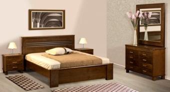 """חדר שינה קומפלט דגם R 30 עשוי מעץ מלא חדר השינה מאסיבי וחזק במיוחד, מעץ מלא שעבר תהליך מבוקר של יבוש ועיבוד בשילוב סנדוויץ', בעל גימורים מעולים ופרזולים איכותיים. משטח השינה עשוי קורות עץ מלא. החומרים הינם בעלי תו תקן ישראלי. חדר שינה הכולל: מיטה + 2 שידות לילה + טואלט + מראה בעיצוב מיוחד, ללא מזרון. מידות חיצוניות בס""""מ: מיטה מתאימה למזרן 190\160. שידה - גובה: 54 רוחב: 54. טואלט - גובה: 83 רוחב: 120. מראה - גובה: 114 רוחב: 114. המחיר הינו לחדר שינה הכולל: מיטה זוגית (160/190) + 2 שידות לילה + טואלט + מראה, ללא מזרון. * אופציה לארגז מצעים בתוספת תשלום . המחיר נכון ל- 12 תשלומים ללא ריבית בכרטיס אשראי.  גוון עץ לבחירה:"""