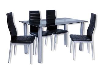 """פינת אוכל דגם אנג'לה שולחן בעיצוב איטלקי עם 4 כסאות סועדים תואמים, בעיצוב מודרני מרהיב. שילוב אומנותי בין חומרים, זכוכית וניקל מודרני. פלטת השולחן עשוייה מזכוכית מחוסמת 8 מ""""מ, בצביעת ראנר שחור מיוחדת. מסגרת השולחן והכסאות בצביעת """"powder coating"""" טיטניום. המעניקה למוצר מראה ייחודי ומרשים. הדבקת הלייזר מעניקה למוצר חוזק רב, יציבות ומראה נקי ללא גומיות או דבק. המחיר כולל 4 כסאות מתכת מעוצבים בגוון תואם לשולחן בקווים נקיים ומודרנים , מרופדים בדמוי עור. ניתן להוסיף כסאות נוספים עד 8. מידות השולחן: אורך: 140 ס""""מ רוחב: 80 ס""""מ גובה: 76 ס""""מ מידות כסא: רוחב: 45 ס""""מ עומק: 47 ס""""מ גובה: 98 ס""""מ המחיר הינו לשולחן + 4 כסאות מרופדים . המחיר נכון ל- 12 תשלומים ללא ריבית בכרטיס אשראי.  *המחיר להובלה בלבד ללא התקנה מצורף דף הסבר להתקנה עצמית."""
