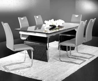 """שולחן אוכל מזכוכית + 6 כסאות דגם נל 200 פינת אוכל מזכוכית הבנויה מהחומרים הטובים ביותר ועמידה לשנים, פלטת השולחן בגוון מוקה/שחור במראה ייחודי. המערכת כוללת 6 כסאות אוכל מרופדים עם רגלי ניקל, בקווים נקיים ומודרניים. ריפוד הכסאות חזק במיוחד ומצטיין בניקוי קל ומהיר. מידות השולחן: אורך: 200 ס""""מ, נפתח ל- 300 ס""""מ. רוחב: 100 ס""""מ. גובה: 78 ס""""מ. דגמי כסאות לבחירה: המחיר הינו לשולחן + 6 כסאות בשילוב ריפוד . המחיר נכון ל- 12 תשלומים ללא ריבית בכרטיס אשראי."""
