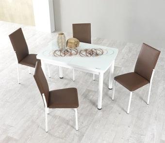 """פינת אוכל דגם אלכס חום הכוללת 4 כסאות שולחן אוכל + 4 כסאות בעיצוב צעיר ומודרני. רגלי השולחן מתכת לבנה, פלטת שולחן ממלמין בשילוב זכוכית בעובי 4 מ""""מ. לשולחן הגדלת ספר באמצע ברוחב 30 ס""""מ, כך שהשולחן נפתח לגודל 150.5 ס""""מ. ריפוד הכסאות עשוי דמוי עור בגוון חום, המצטיין בניקוי קל ומהיר. צבע: לבן בשילוב חום. מידות שולחן: רוחב: 80 ס""""מ, אורך: 120.5 ס""""מ, גובה: 75 ס""""מ . גודל שולחן פתוח: 80X150.5. המחיר הינו לשולחן + 4 כסאות . ניתן לשלם ב- 12 תשלומים שווים ללא ריבית והצמדה."""