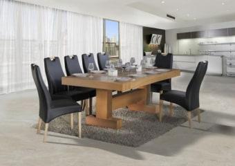"""שולחן אוכל + 6 כסאות דגם הדס פינת האוכל בנוייה מהחומרים הטובים ביותר ועמידה לשנים, פלטת השולחן עבה במיוחד רגלי במראה ייחודי בגוון אלון. המערכת כוללת 6 כסאות אוכל בגוון אלון, בקווים נקיים ומודרניים. ריפוד הכסאות חזק במיוחד ומצטיין בניקוי קל ומהיר. מידות השולחן: אורך: 210 ס""""מ, רוחב: 110 ס""""מ. לשולחן 4 הגדלות נוספות של 48 ס""""מ, כך שהשולחן נפתח ל- 402 ס""""מ. גוון ריפוד כסאות לבחירה: לבן ושחור. המחיר הינו לשולחן + 6 כסאות . המחיר נכון ל- 12 תשלומים ללא ריבית בכרטיס אשראי."""