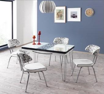 """פינת אוכל דגם סופי הכוללת 4 כסאות שולחן אוכל + 4 כסאות בעיצוב צעיר ומודרני. רגלי השולחן מניקל מעוצבות, פלטת שולחן ממלמין בשילוב זכוכית בעובי 4 מ""""מ. לשולחן הגדלה באורך 28.6 ס""""מ, כך שהשולחן נפתח לגודל 159 ס""""מ. ריפוד הכסאות עשוי דמוי עור בגוון לבן בשילוב אפור, המצטיין בניקוי קל ומהיר. צבע: לבן בשילוב אפור. מידות שולחן: רוחב: 80 ס""""מ, אורך: 130.5 ס""""מ . גודל שולחן פתוח: 80X159. המחיר הינו לשולחן + 4 כסאות . ניתן לשלם ב- 12 תשלומים שווים ללא ריבית והצמדה."""