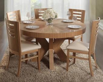 """פינת אוכל עגולה + 6 כסאות דגם חץ פורניר בעיצוב מודרני שולחן אוכל עגול מפורניר אלון + 6 כסאות, בעיצוב מודרני ומרהיב, פינת האוכל בנויה מהחומרים הטובים ביותר ועמידה לשנים. השולחן נפתח במרכזו, ההגדלה מאוכסנת בתוך השולחן. פינת האוכל כוללת 6 כסאות אוכל בעיצוב תואם, בקווים נקיים ומודרניים. ריפוד הכסאות עשוי דמוי עור, המצטיין בניקוי קל ומהיר. מידות השולחן: קוטר: 140 ס""""מ, נפתח ל- 240 ס""""מ. גובה: 78 ס""""מ. המחיר הינו לשולחן + 6 כסאות . המחיר נכון ל- 12 תשלומים ללא ריבית בכרטיס אשראי."""