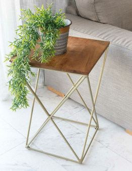 """שולחן צד מרובע דגם PR 3318 שולחן צד מרובע בשילוב עץ מלא ורגל מתכת בעיצוב גאומטרי בגוון מוזהב. שולחן נוח ומיוחד. אידאלי להכנסת סגנון עיצובי מיוחד לכל פינה בבית, בסלון, לחדר השינה ועוד. מידות בס""""מ: 40X40, גובה 60. המחיר הינו לשולחן בלבד. * מועד אספקה למוצרים שבמלאי עד 30 ימי עבודה, כדאי ליצור קשר ולברר עם נציג. * תיתכן סטייה בגוון. המחיר נכון ל- 12 תשלומים ללא ריבית בכרטיס אשראי."""