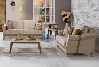 """מערכת ישיבה דגם לאורה LAURA הכוללת ספה תלת מושבית וספה דו מושבית מערכת ישיבה בעלת מערכת תמיכה אורטופדית לתמיכה אופטימאלית בגב ולשינה בריאה ונוחה. ספה תלת מושבית נפתחת למיטה ובספה דו מושבית ארגז מצעים מרווח. הריפוד מבד רך ונעים למגע, דוחה כתמים וקל לניקוי. הספה ממולאת בספוג המאפשר ישיבה רכה, מפנקת ותומכת. מידות ספה תלת מושבית: אורך: 2.20, עומק: 1.00, גובה: 0.85 ס""""מ. נפתחת למיטה במידות : 120/180 ס""""מ. מידות ספה דו מושבית: אורך: 1.60, עומק- 1.00, גובה- 0.85 ס""""מ. נפתחת למיטה במידות : 120/120 ס""""מ. המחיר הינו לספה תלת מושבית ולספה דו מושבית ללא שולחן וכורסאות. * אופציה לכורסא בודדת בתוספת תשלום. גווני בדים:"""