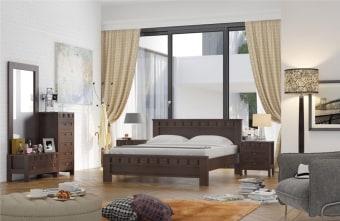 """חדר שינה הכולל:   מיטה + 2 שידות לילה + טואלט + מראה בעיצוב מיוחד.   ללא מזרון.   גודל מיטה חיצוני 202x154 ס""""מ   מיטה זוגית תאומת למזרן 190x140 ס""""מ   יש אפשרות להזמין בגודל שונה ולהוסיף ארגז מצעים   אופציה להפרדה יהודית ( מיטה מופרדת לשני מזרנים 190x80 ס""""מ כל אחד ושני ארגזי מצעים)"""