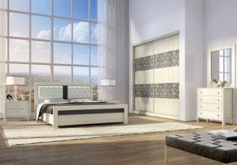 """חדר שינה הכולל:   מיטה + 2 שידות לילה + טואלט + מראה בעיצוב מיוחד.   ללא מזרון.   גודל מיטה חיצוני 201x147 ס""""מ   מיטה זוגית תאומת למזרן 190x140 ס""""מ   יש אפשרות להזמין בגודל שונה ולהוסיף ארגז מצעים   אופציה להפרדה יהודית ( מיטה מופרדת לשני מזרנים 190x80 ס""""מ כל אחד ושני ארגזי מצעים)"""